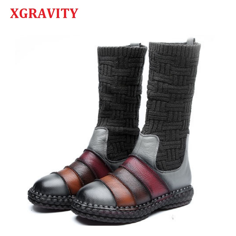 XGRAVITY Ankle Short Women Snow Boots Elegant Genuine Leather Mixed Colors Lady Fashion Boots Vintage Ethnic Ladies Shoes A034-1