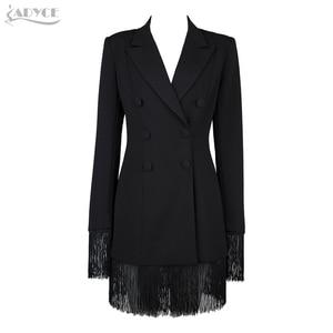 Image 3 - Adyce gabardina ceñida para mujer, abrigos negros con cuello en V profundo, abrigos de doble botonadura, abrigos de manga larga con borla a la moda para discoteca 2020