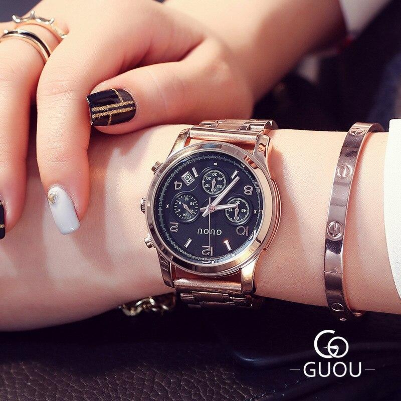 GUOU classique 3 yeux femmes montres à Quartz en acier inoxydable pleine femme de luxe en or Rose dames robe élégantes montres 8175