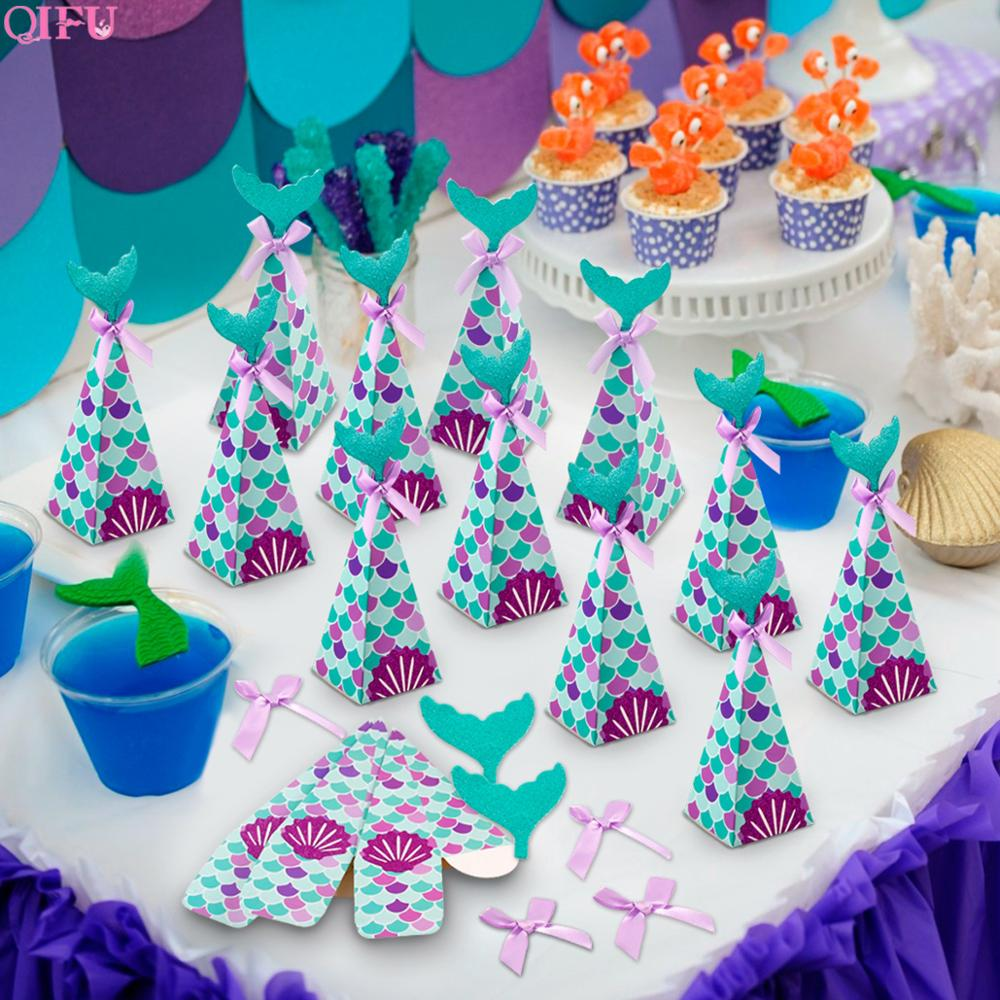QIFU 10pcs Little Mermaid Candy Box Gift Boxes Mermaid Birthday Party Decorations Kids Favor Mermaid Paper Bag For Wedding