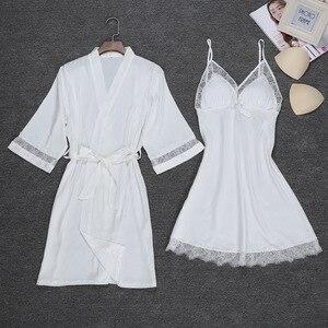 Image 3 - Sexy Womens Night Robe Strap Top Pajamas Suit Summer Two Piec Sleepwear Sets Casual Home Wear Nightwear Sleep Kimono Bath Gown