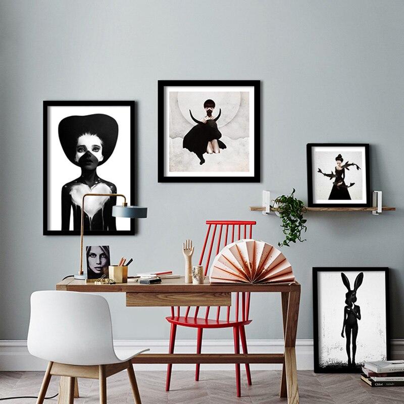 っNordic Poster Zwart-wit Abstracte Vrouwen Muur Canvas Schilderij ...