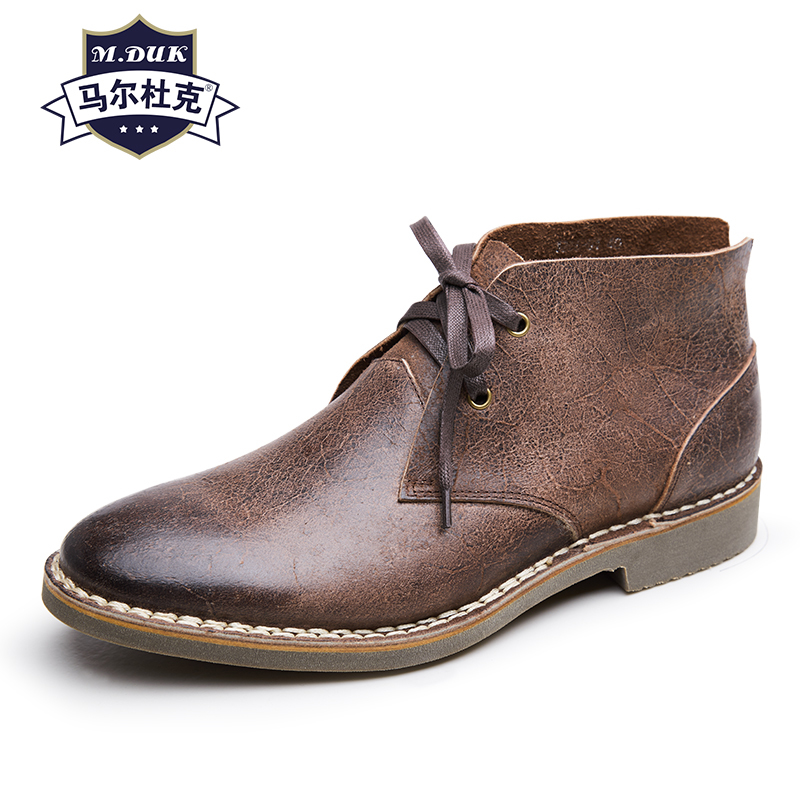 real Leather handmade retro shoes British casual Martin boots men's desert short boots autumn winter Chelsea boots men high top
