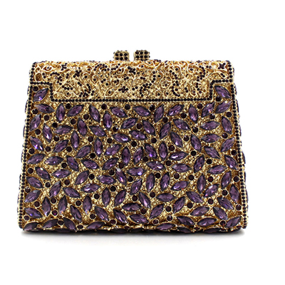 Women Gold Evening Bags Ladies Wedding Party Purple Clutch Bag Pink Crystal Full Diamonds Hasp Purses Silver Day Clutches Wallet