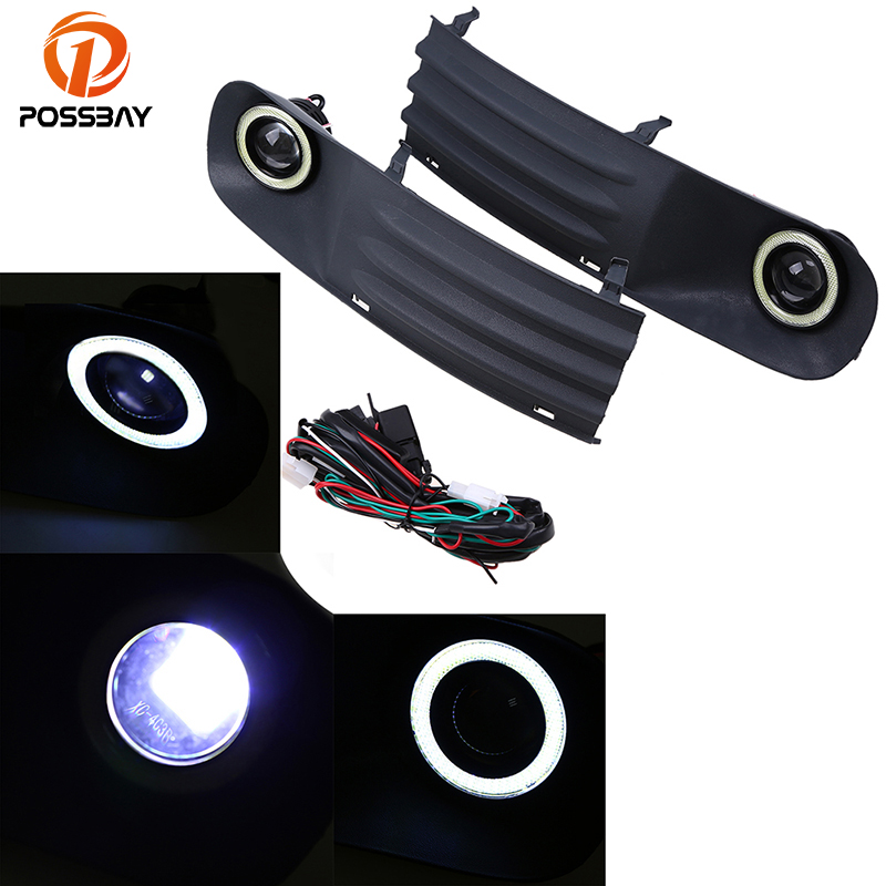 POSSBAY Car Fog Light Front Lower Bumper Grille Kit with LED Fog Light DRL Angel Eyes Fit for VW T5 2003-2009