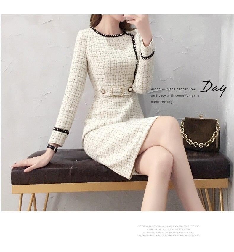2019 New Tweed Dress Women Spring Vintage Wool Plaid Dresses Female Elegant Woolen Dress Ladies Office Vestidos 22