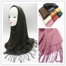 Модный простой Блестящий женский шарф с бахромой повязка на