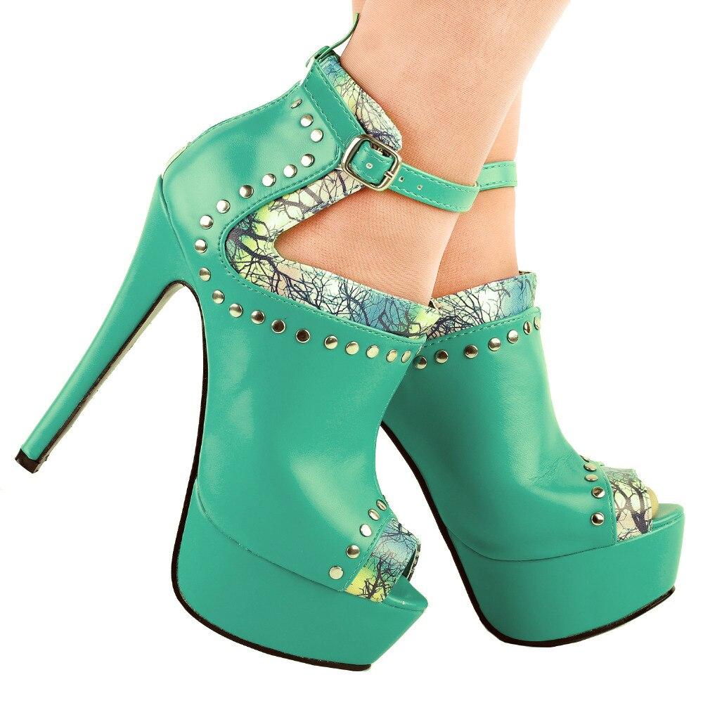 288032facade8 LF80106 Sexy Aqua Peep toe Stud Platform Stiletto Heel Boot Sandals Size 4 5 6 7 8 9 10-in  Women s Pumps from Shoes on Aliexpress.com