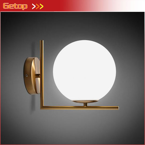 Italy Nordic Post-modern Glass Wall Lamp Corridor Aisle Lamp Living room Bedroom Bedside Outdoor LED Wall Lamp D20cm american village wall lamp nordic bronze glass bird living room bedroom bedside lamp