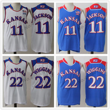 cb1b070e2033  11 Josh Jackson  22 Andrew Wiggins Kansas Jayhawks College Retro Basketball  Jersey Mens Stitched