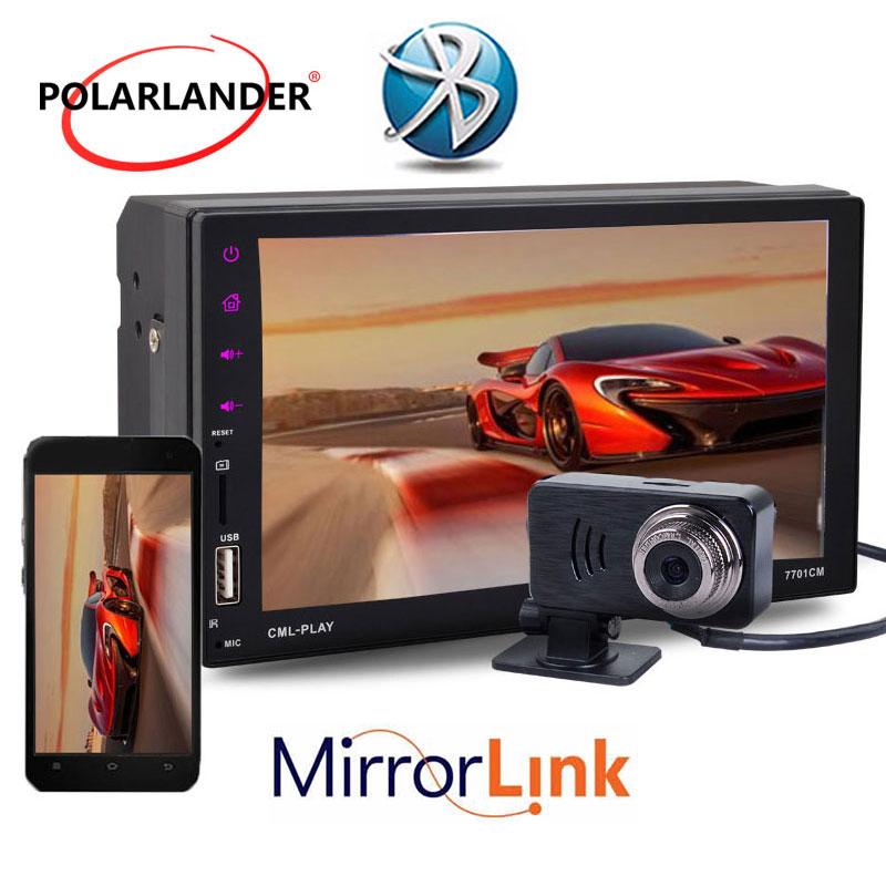 2DIN 7 pouces FM/TF/USB voiture MP5 lecteur lien miroir pour Android Bluetooth support 9 langues écran tactile télécommande mains libres