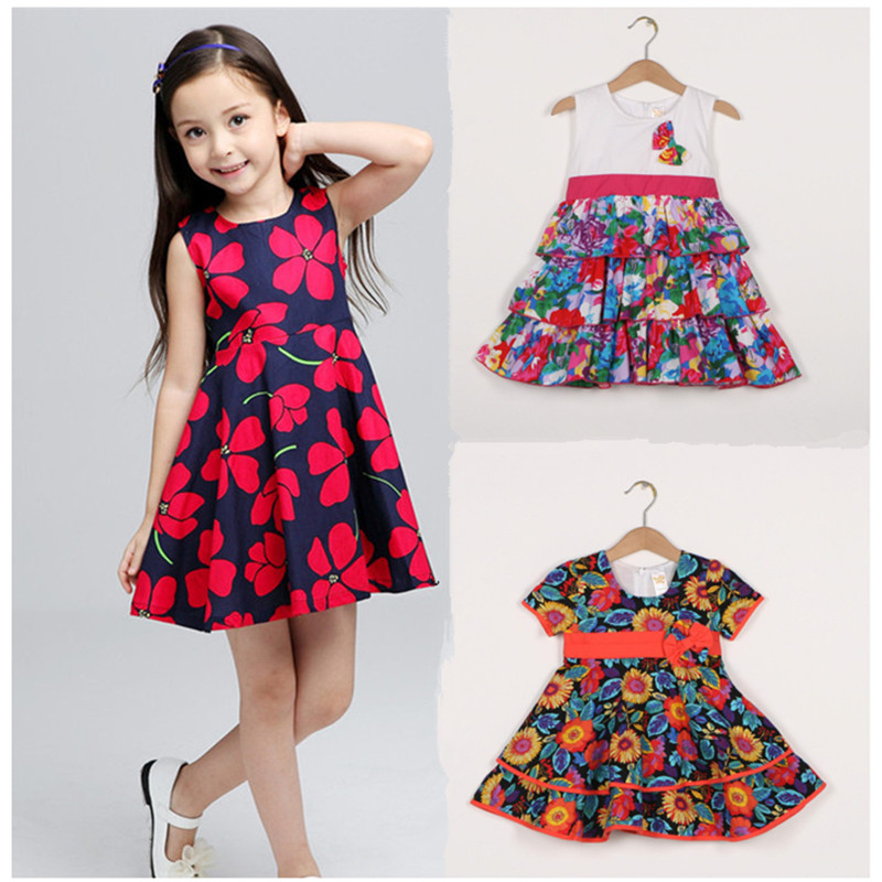 Baby Girls Flare Sleeve Cherry Print Dress Kids Toddler Summer Casual Sundress