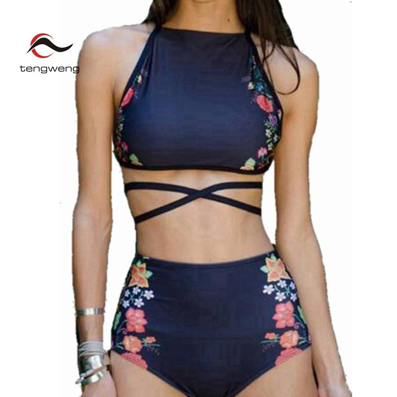 2017 Sexy Women Swimwear Retro High Neck Bikini Set Bandage Swimsuit High Waist Floral Print BathingSuit Biquini Maillot De Bain