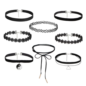 IF YOU Fashion 8 PCS/Set Lace Long Chain Tattoo Choker Necklace Collier Boheme Women Leather Necklaces Bijouterie Jewelry