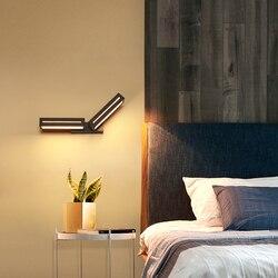 Dekoracja lampy ścienne oświetlenie do sypialni czarny biały nowy projekt kwadratowy jadalnia salon kreatywna restauracja nowoczesna ściana światło w Wewnętrzne kinkiety LED od Lampy i oświetlenie na