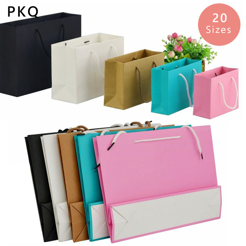 New Solid Color Paper Gift Bag Wedding 20pcs Black White