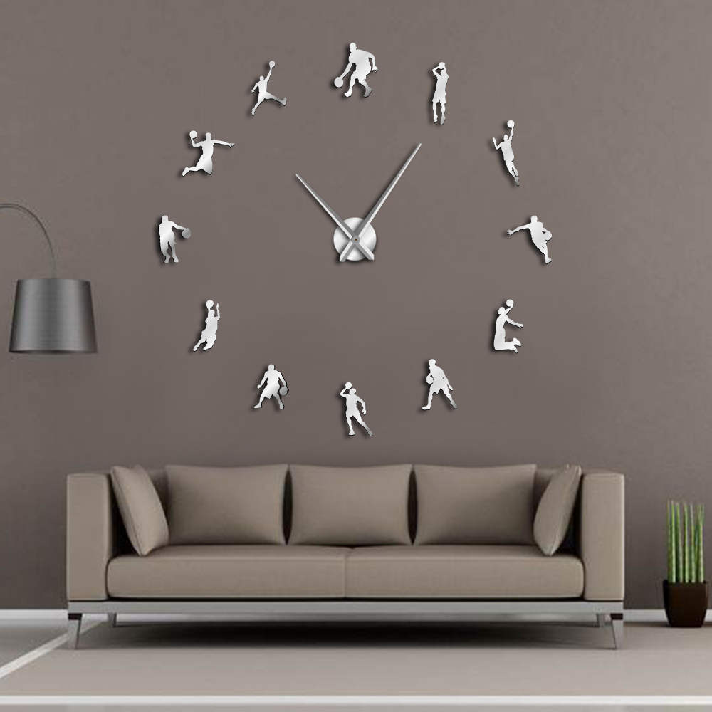 Basketball Players DIY Large Wall Clock Basketball Slam Dunk Kid Room Wall Decor Giant Wall Clock Basketball Wall Watch Gifts