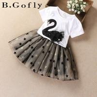 Fashion Toddler Baby Girl Suit Tops T Shirt Two Piece Chiffon Gauzy Dress Children Kids Flamingo Skirt Girl Clothing Set