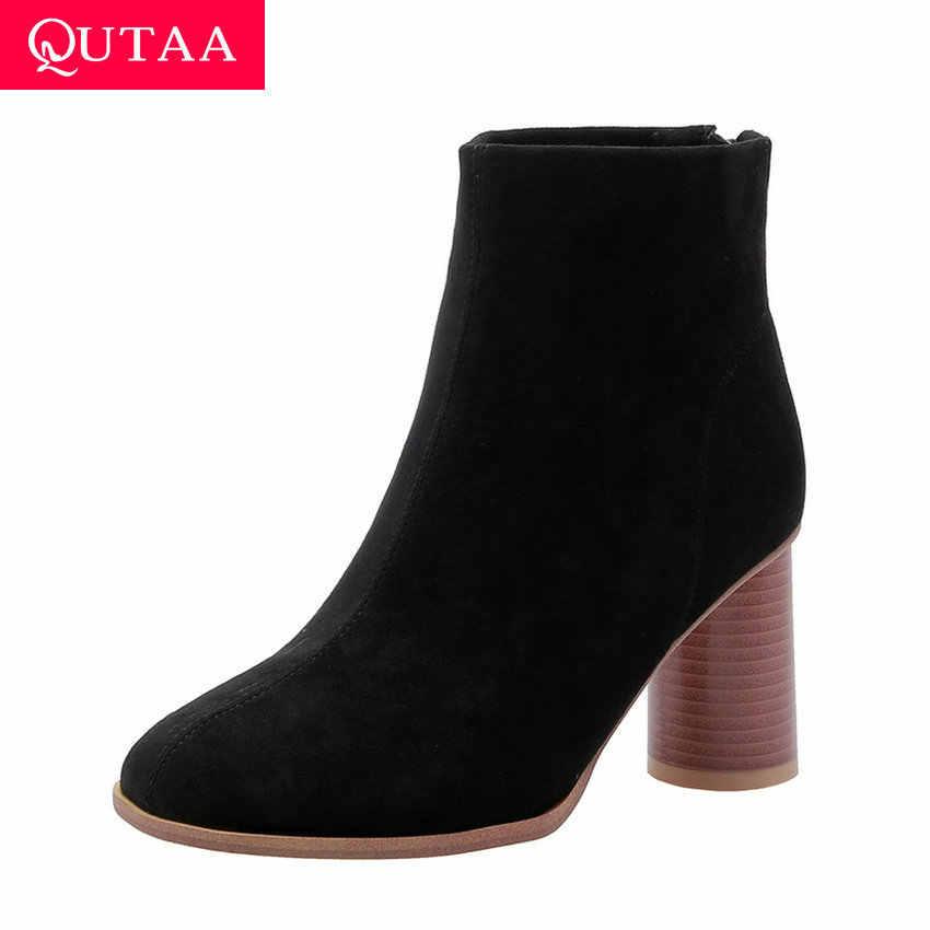 QUTAA 2020 Akın Yuvarlak Ayak Eğlence yarım çizmeler Moda Kare Yüksek Topuk Fermuar Özlü Sonbahar Kış Kadın Ayakkabı Boyutu 34- 43