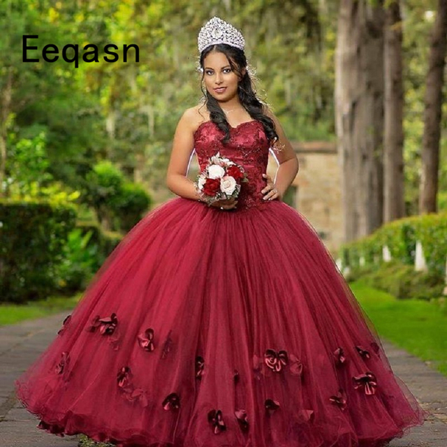 Burgundy Ball Gown Quinceanera Dresses 2018 Off Shoulder 15 Sweet 16