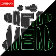 Zunduo ворота слот площадку для Hyundai Solaris 2011-2016 Салонные подложки Автомобильный интерьер нескользящие Коврики s и пыли коврики красный/синий/ничуть