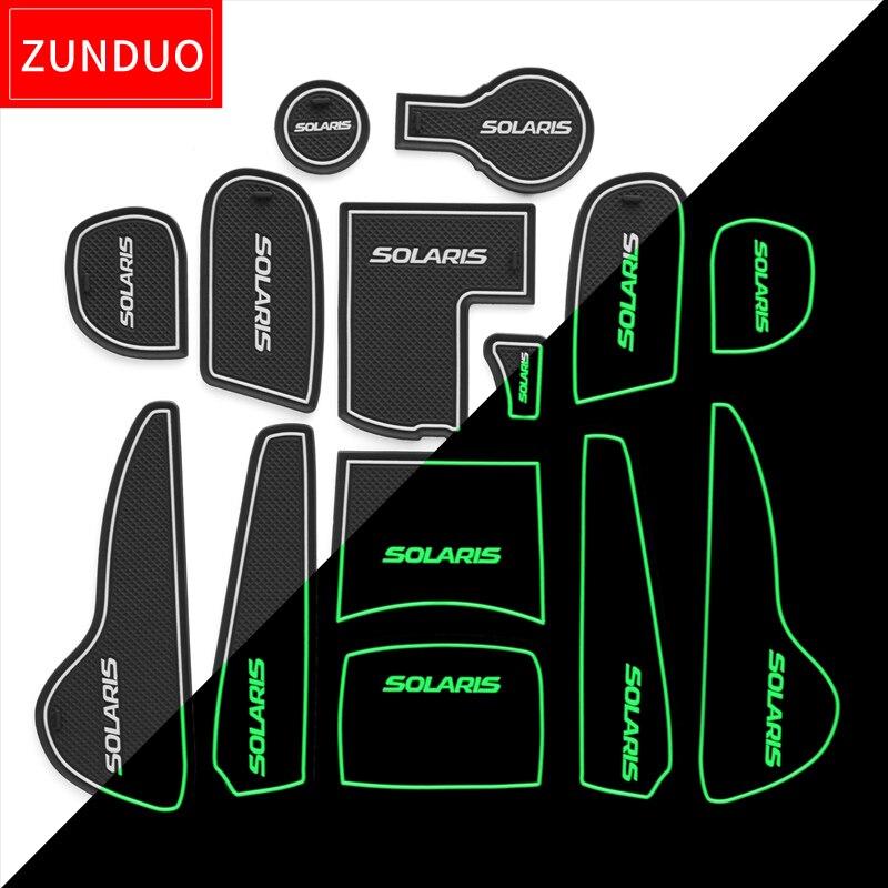 ZUNDUO Porta slot pad Per Hyundai Solaris 2011-2016 Porta Scanalatura Mat Automotive interni antiscivolo stuoie e polvere mat rosso/blu/briciolo