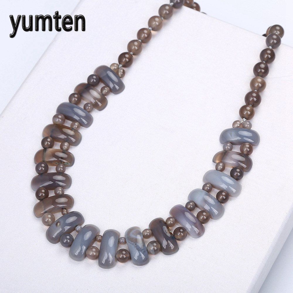 Yumten Gray Agate Big Necklace Natural Stone Crystal Women Fashion Beads Handmade Vintage Fine Jewelry Holiday Gifts AquamarineYumten Gray Agate Big Necklace Natural Stone Crystal Women Fashion Beads Handmade Vintage Fine Jewelry Holiday Gifts Aquamarine