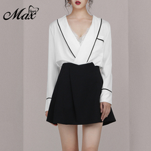 цена на Max Spri 2019 New Women 2 Two Piece Sets Suit Sexy Plunge V Neck Fashion Long Sleeve Mini Black Skirt Office Lady Set Suits