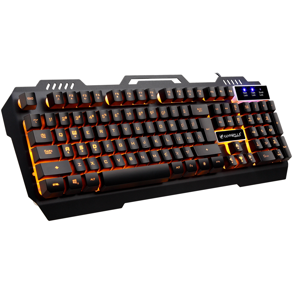 цена Keyboard backlit Wired Gaming multimedia usb keyboard 104 Keys yellow Backlight Mechanical Feeling Gamer Keyboard computer pc
