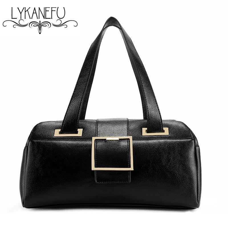 ФОТО LYKANEFU Handbag Women Shoulder Bags Top Handle Designer Handbags OL Lady PU Leather  Purse Female Boston Bag Bolsas Femininas