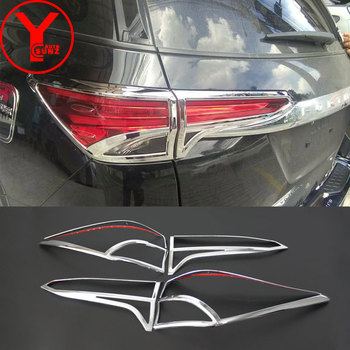 tail light cover For toyota hilux fortuner sw4 2016 2017 2018 2019 chrome light hood For toyota fortuner 2017 accessories YCSUNZ