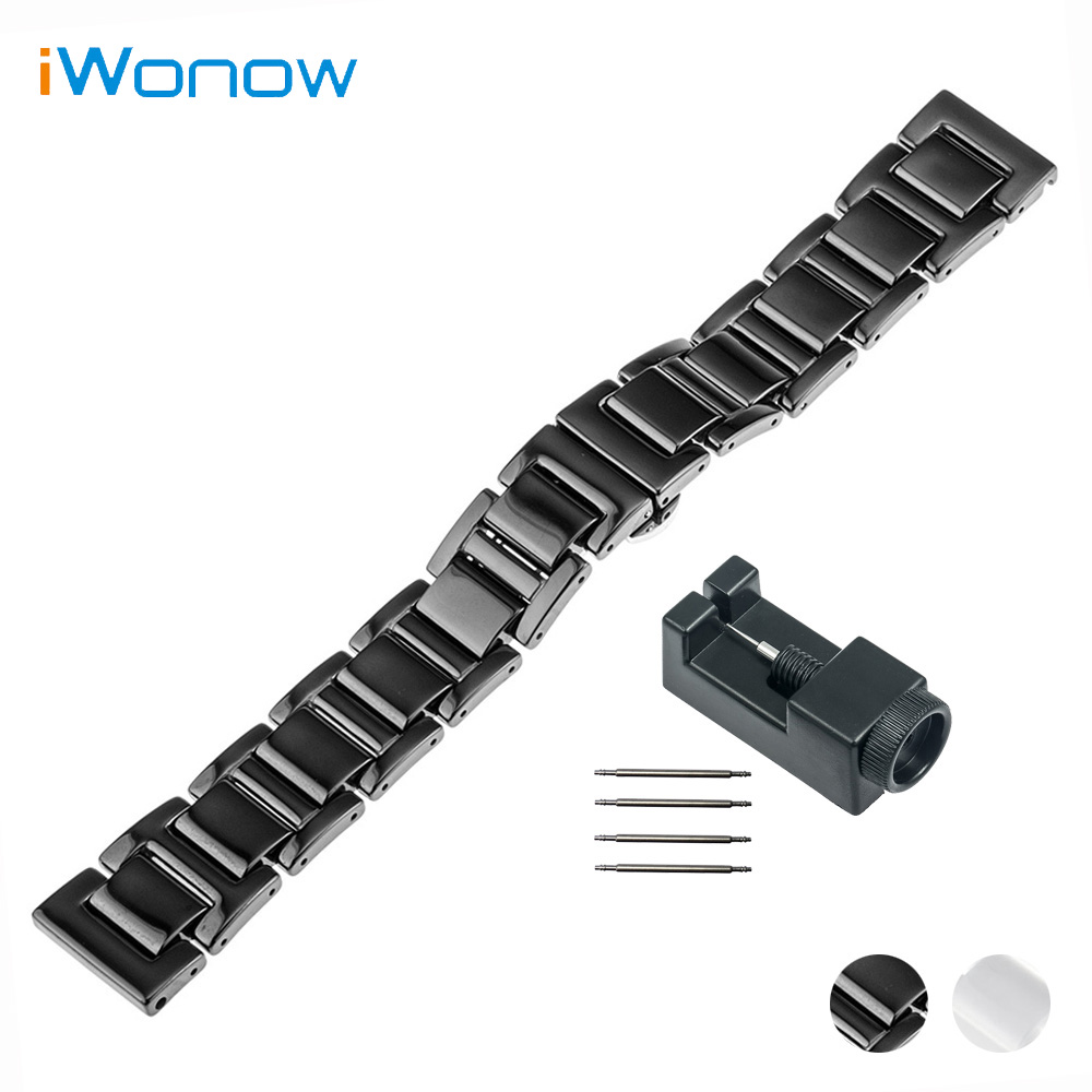 16mm Ceramic Watch Band for Huawei Talkband B3 Women's Butterfly Buckle Strap Wrist Belt Bracelet Black White + Tool +Spirng Bar 16mm ceramic watch band for huawei talkband b3 women s butterfly buckle strap wrist belt bracelet black white tool spirng bar