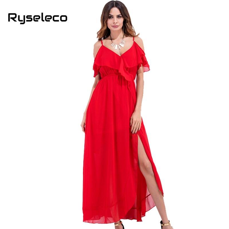 Ryseleco 2017 Women Summer Beach Chiffon Clothing Bohemian Red Ruffles Spaghetti Straps Side Split Maxi Long Party Holiday Dress