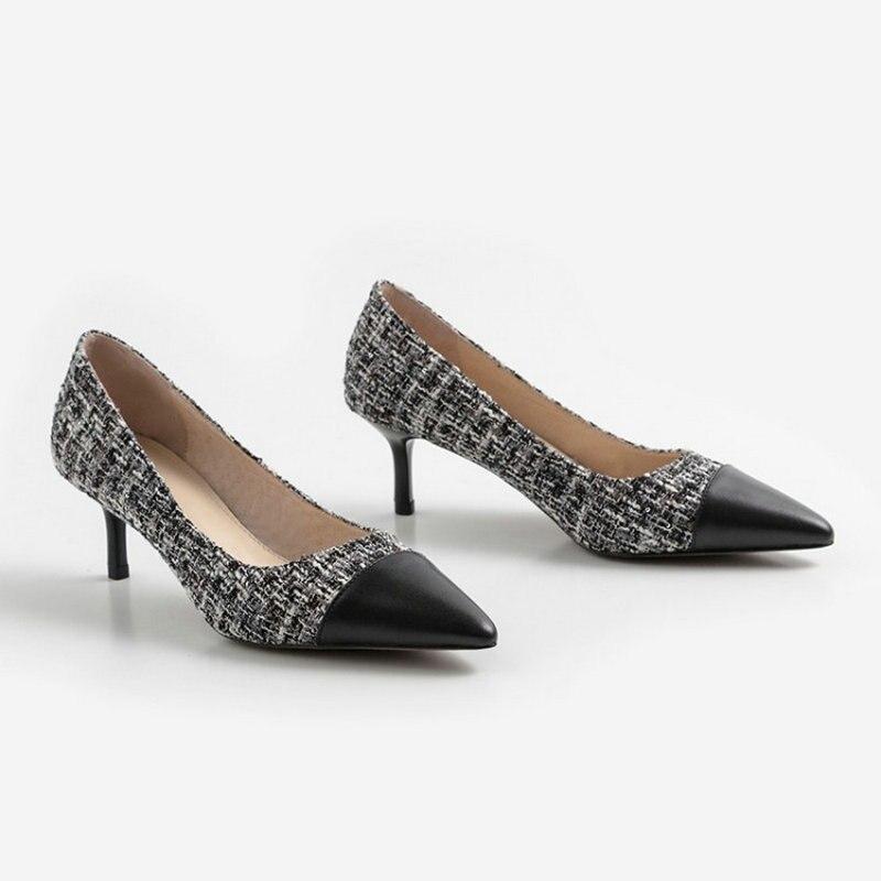 2019 Nueva Bien Black Zapatos Superficial Un Primavera pink De Con Alto Señaló Solo Mujer Tacón gray OzrxROnw