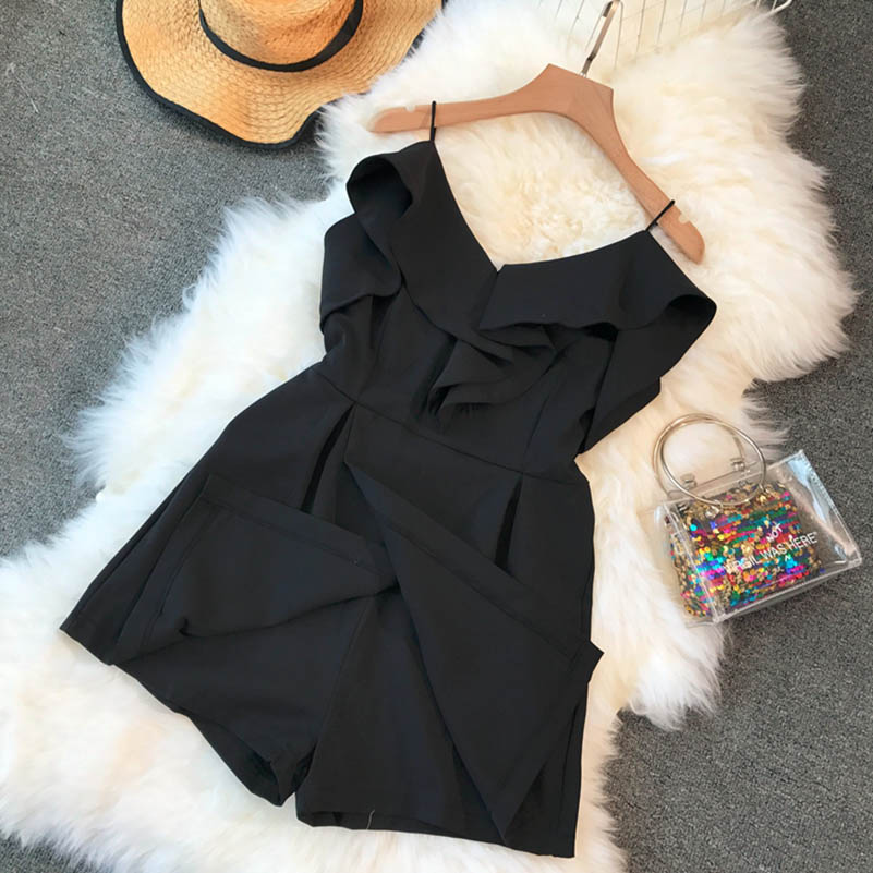 NiceMix Korean Fashion Clothing Denim Rompers Womens Jumpsuit Shorts New Fashion Casual Loose Solid Color 2018 Playsuits Summer