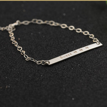 Engraved Name Charm Bracelet Custom Nameplate 925 Solid Silver Bracelet Women Personalized Fashion Ancklet Jewelry