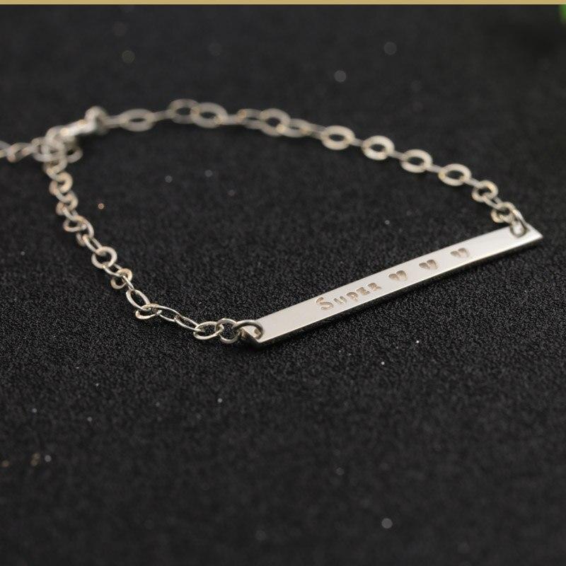 Engraved Charm Bracelet: Engraved Name Charm Bracelet Custom Nameplate 925 Solid