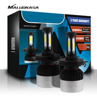MALUOKASA 1Pair Auto H7 H4 LED Headlight Bulb 72W 9000LM H11 9005 9006 Car Head Lamp
