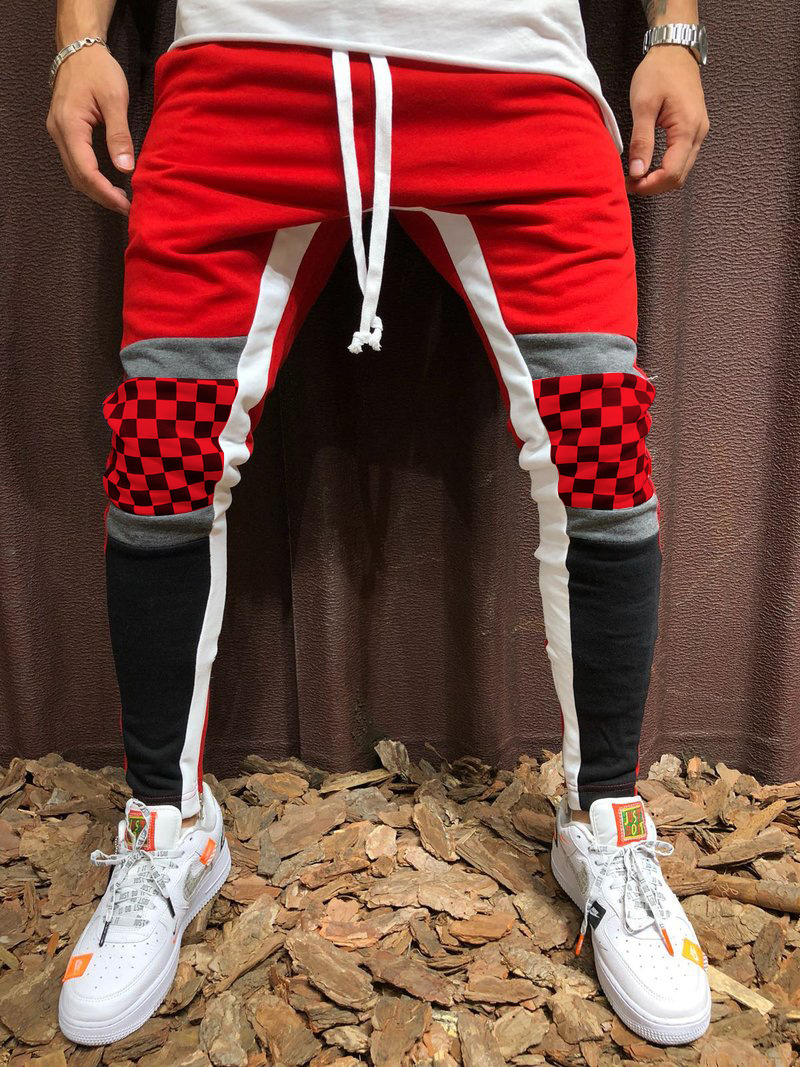 2018 Men's Casual Sports Pants Plaid Color Matching Hip Hop Fitness Trousers Stitching Lattice Drawstring Trousers Jogging Pants