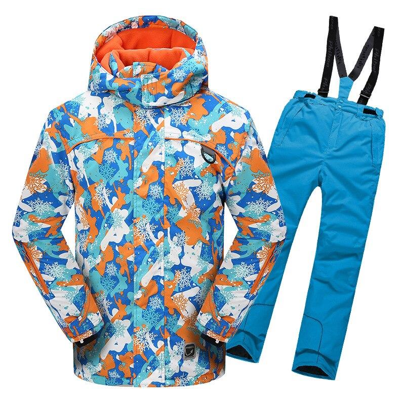 Garçons filles veste de Ski costume imperméable coupe-vent Ski Snowboard enfant chaud thermique à capuche polaire à l'intérieur petits enfants ensemble de vêtements