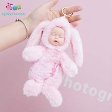 Cute Sleeping Doll Toys Plush Sleep Baby Tous For Girls Face With Long Rabbit Ear Bag Decoration Pendant Hang Toy Kids Gift