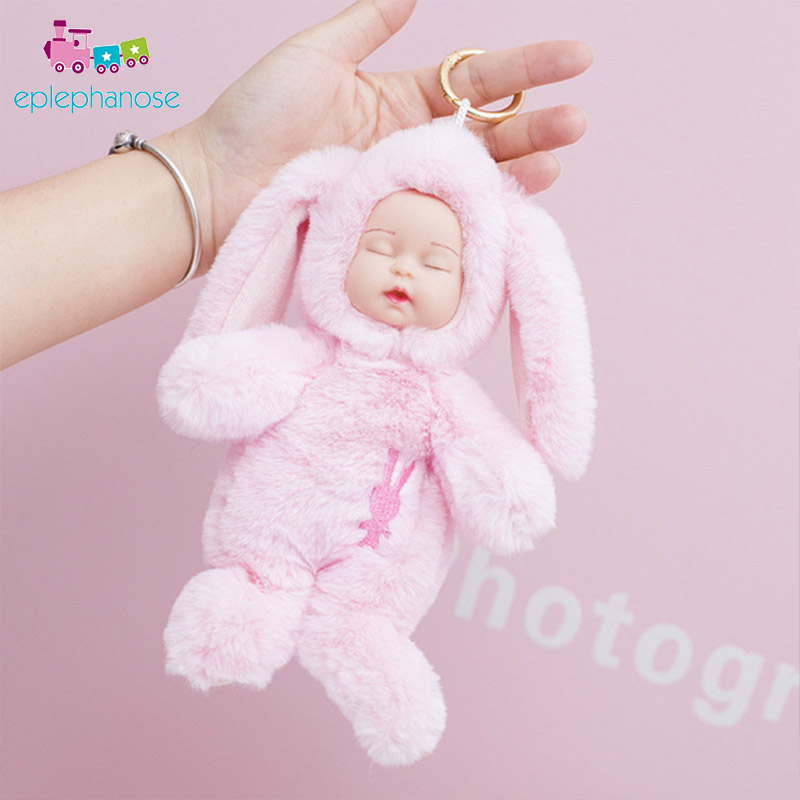Cute Sleeping Doll Toys Plush Sleep Baby Toys For Girls Baby Face With Long Rabbit Ear Bag Decoration Pendant Hang Toy Kids Gift