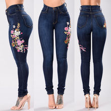 Women's Fashion Embroidered Feet High-elastic Jeans Blue Holes Woman Denim Pants Trousers For Women Pencil Skinny Jeans(China)