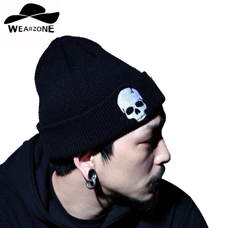 2017 men's Skullies hats winter knitting Beanies embroidery Skull and crossbones Women Knitted Hat Headgear Women Hat warmCap skullies