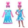 Тролль костюм Платья Pattern Детские Костюмы Для Девочек Карнавальные Дети одежда Летняя Девушка Платье disfraz Тролли Партия Одежды