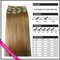 """15 """" - 22 """" Remy cabelo clipes retas em extensões de cabelo de 70gr ouro mais leve loira # 18"""