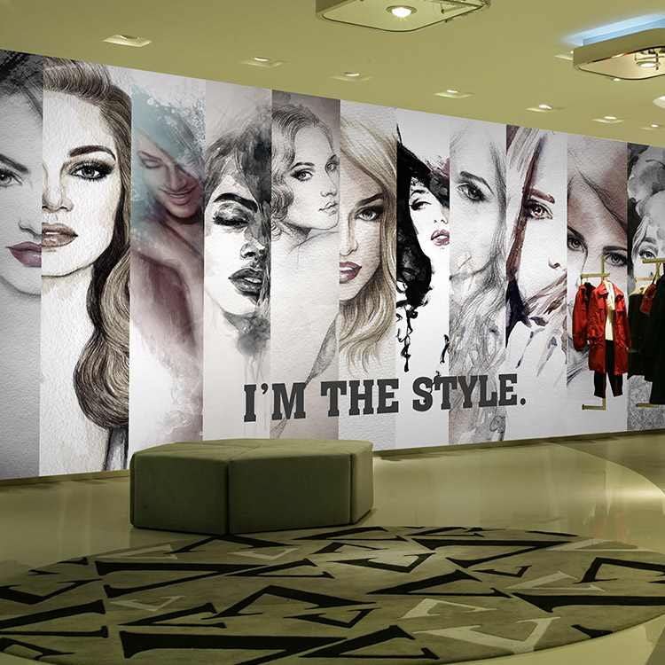 Free Shipping Fashion girl wallpaper hairdressing salon watercolor clothing beauty salon coffee KTV wallpaper mural