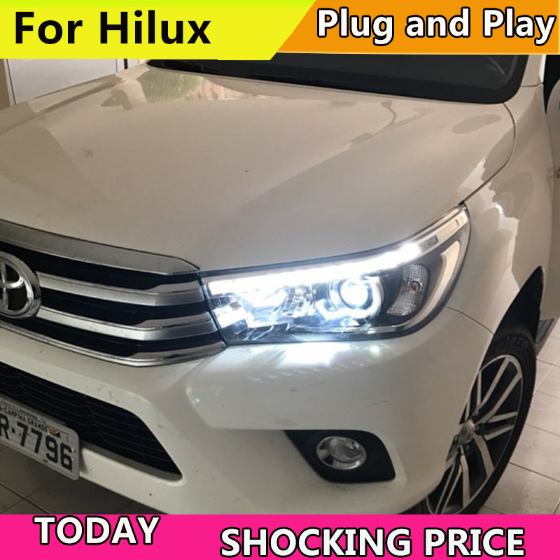 Car Styling for Toyota Hilux Headlights 2015-2017 New Revo LED Headlight DRL Hid Head Lamp Angel Eye Bi Xenon Accessories akd car styling led drl for toyota corolla 2014 2015 new altis eye brow light led external lamp signal parking accessories