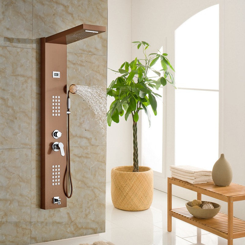 Responsible New Arrival Shower Column Rose Golden Wall Mounted Shower Panel With Massage Jets Shower Equipment