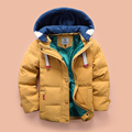 2016 New children Down & Parkas 4-6-8-10T winter kids outerwear boys casual warm hooded jacket for boys solid boys warm coats